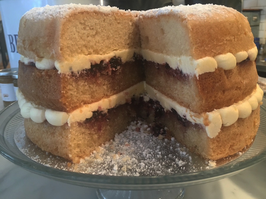 Gluten-free Victoria sponge cake at the Real Eating Company